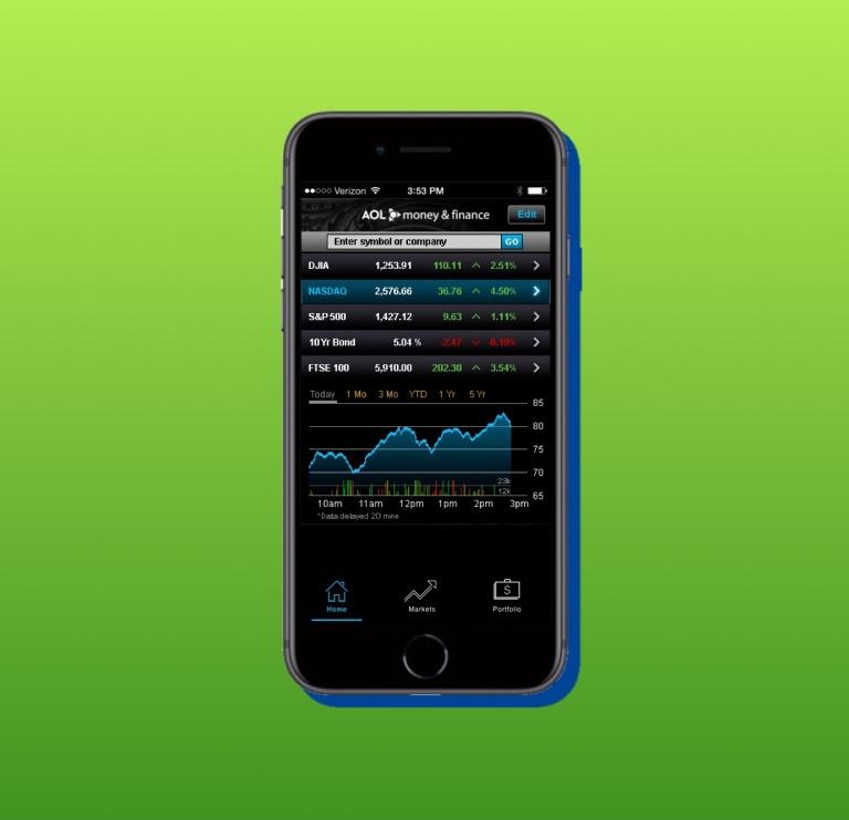 portfolio - AOL money and finance app 2B