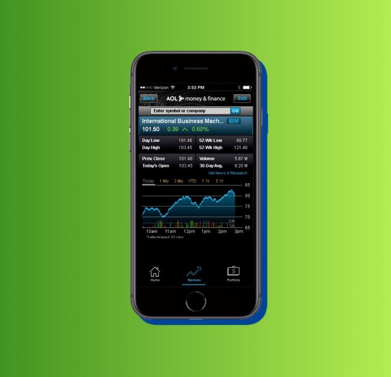 portfolio - AOL money and finance app 3B